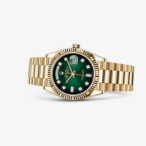 Rolex 128238-0069 made of yellow gold, sapphire glass, green dial, diamond indexes