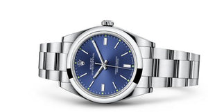Rolex 114300-0003 made of stainless steel, sapphire glass, blue dial, hands stick