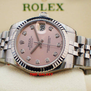 Rolex 178274-0022 made of stainless steel, white gold, pink dial, diamond indexes