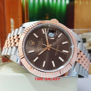 Rolex 126331-0002 features brown dial, jubilee bracelet