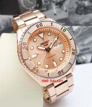 Load image into Gallery viewer, Seiko SRPE72K1 featured rose gold colour dial, Lumibrite on hands and indexes, unidirectional rotating bezel