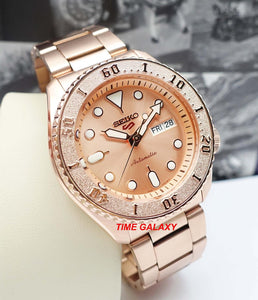 Seiko SRPE72K1 featured rose gold colour dial, Lumibrite on hands and indexes, unidirectional rotating bezel