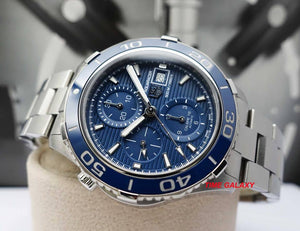 Tag Heuer CAK2112BA0833 features blue dial, stick and dot indexes and stick hands