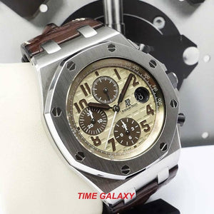 Pre-Owned AUDEMARS PIGUET Royal Oak Offshore Stainless Steel Safari Alligator Watch