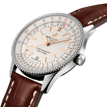 Load image into Gallery viewer, Breitling A17326211G1P2 silver dial, stick and dot indexes, syringe hands, sliderule bezel, date display