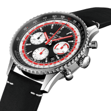 Load image into Gallery viewer, Breitling AB01211B1B1X1 black dial, matte finish, stick dot indexes, stick hands, sliderule bezel, date display, chronograph, column wheel, chronometer