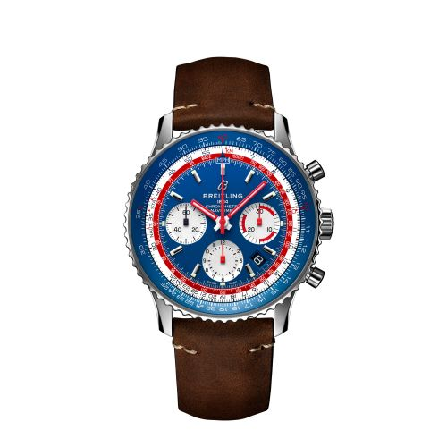 Breitling Navitimer B01 Chronograph 43 Pan Am Steel Blue Calf Folding AB01212B1C1X2 Watch