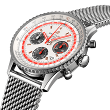 Load image into Gallery viewer, Breitling AB01219A1G1A1 silver dial, index indexes, stick hands, sliderule bezel, date display, chronograph, column wheel, chronometer