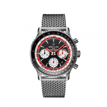 Load image into Gallery viewer, Breitling Navitimer B01 Chronograph 43 Stainless Steel Black Airline Editions SwissAir Mesh Bracelet AB01211B1B1A1 Watch