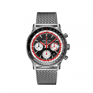 Breitling Navitimer B01 Chronograph 43 Stainless Steel Black Airline Editions SwissAir Mesh Bracelet AB01211B1B1A1 Watch