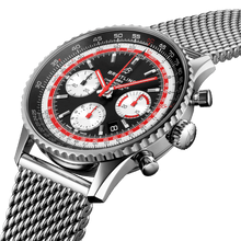 Load image into Gallery viewer, Breitling AB01211B1B1A1 black dial, matte finish, stick dot indexes, stick hands, sliderule bezel, date display, chronograph, column wheel, chronometer