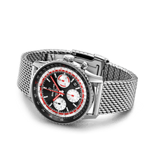 Load image into Gallery viewer, Buy Sell Breitling Navitimer 1 B01 Chronograph 43 Stainless Steel Black Airline Edition SwissAir Mesh Bracelet AB01211B1B1A1 at Time Galaxy Watch