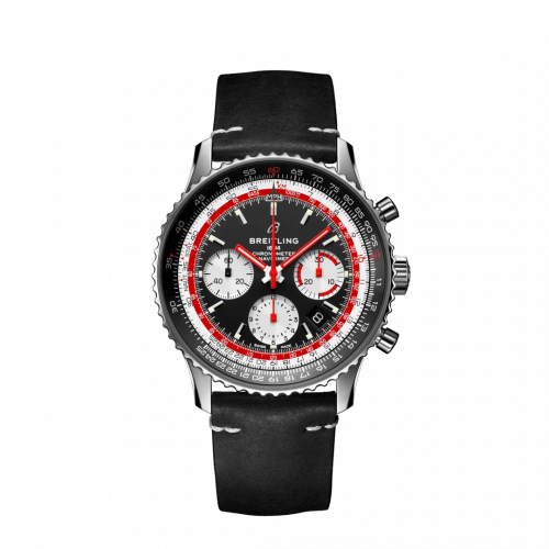 Breitling Navitimer B01 Chronograph 43 Stainless Steel Black Airline Editions SwissAir Calf Folding AB01211B1B1X2 Watch