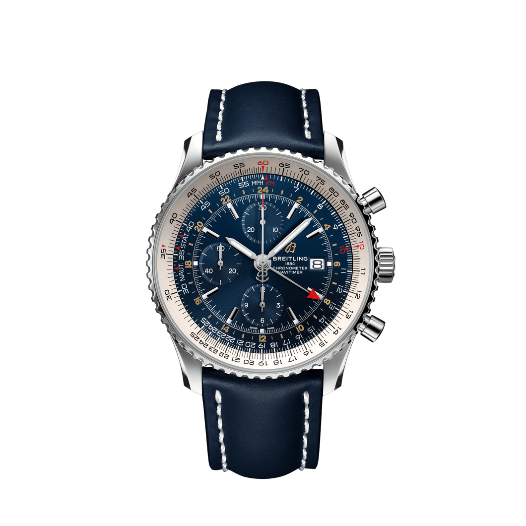 Breitling Navitimer Chronograph GMT Stainless Steel Blue Leather A24322121C2X1 Watch