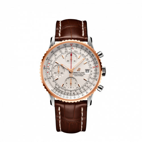 Breitling Navitimer Chronograph 41 Stainless Steel Red Gold Mercury Silver Croco Pin U13324211G1P1 Watch