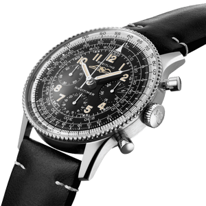 Breitling AB0910371B1X1 black dial, Arabic numerals indexes, syringe hands, sliderule bezel, chronograph, column wheel, chronometer