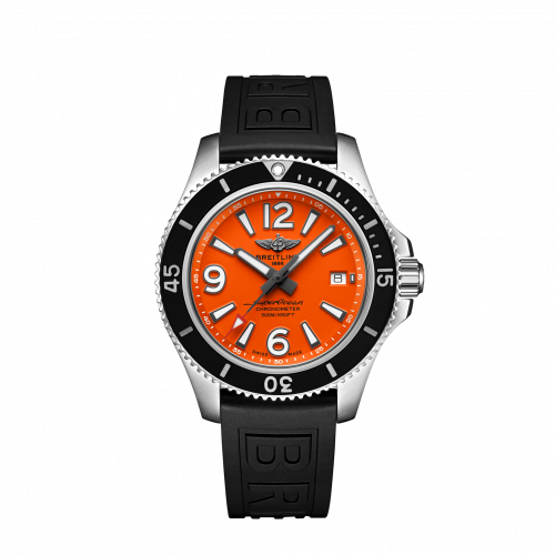 Breitling Superocean Automatic 42 Steel Orange Rubber Pin A17366D71O1S1 Watch