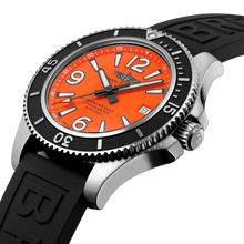 Load image into Gallery viewer, Breitling A17366D71O1S1 orange dial, mixed indexes, stick hands, date display