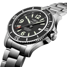 Load image into Gallery viewer, Breitling A17367D71B1A1 black dial, mixed indexes, stick hands, date display