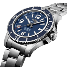 Load image into Gallery viewer, Breitling A17367D81C1A1 blue dial, mixed indexes, stick hands, date display