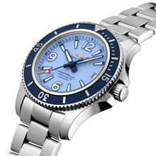 Load image into Gallery viewer, Breitling A17316D81C1A1 blue dial, mixed indexes, stick hands, date display