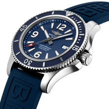 Load image into Gallery viewer, Breitling A17367D81C1S1 blue dial, mixed indexes, stick hands, date display