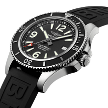 Load image into Gallery viewer, BreitlingA17366021B1S1 black dial, mixed indexes, stick hands, date display, water resistant up to 500 m