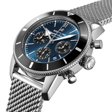 Load image into Gallery viewer, Breitling AB0162121C1A1 blue dial, stick and dot indexes, arrow hands, date display, chronograph, column wheel