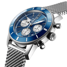 Load image into Gallery viewer, Breitling AB0162161C1A1 blue dial, stick and dot indexes, arrow hands, date display, chronograph, column wheel