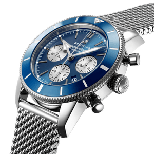 Breitling AB0162161C1A1 blue dial, stick and dot indexes, arrow hands, date display, chronograph, column wheel