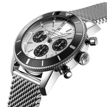 Load image into Gallery viewer, Breitling AB0162121G1A1 silver dial, stick and dot indexes, arrow hands, date display, chronograph, column wheel