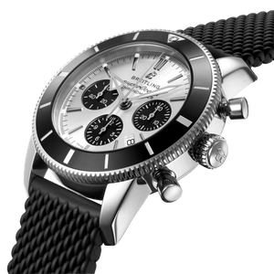 Breitling AB0162121G1S1 silver dial, stick and dot indexes, arrow hands, date display, chronograph, column wheel