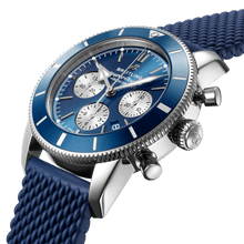 Load image into Gallery viewer, Breitling AB0162161C1S1 blue dial, stick dot indexes, arrow hands, date display, chronograph, column wheel