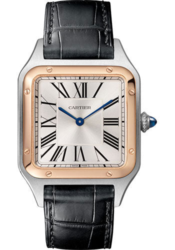 Cartier Santos Dumont Large 18K Pink Gold Steel Leather W2SA0011 Watch