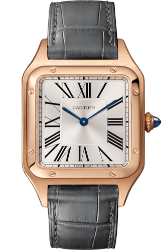 Cartier Santos Dumont Large Pink Gold Grey Leather WGSA0021 Watch