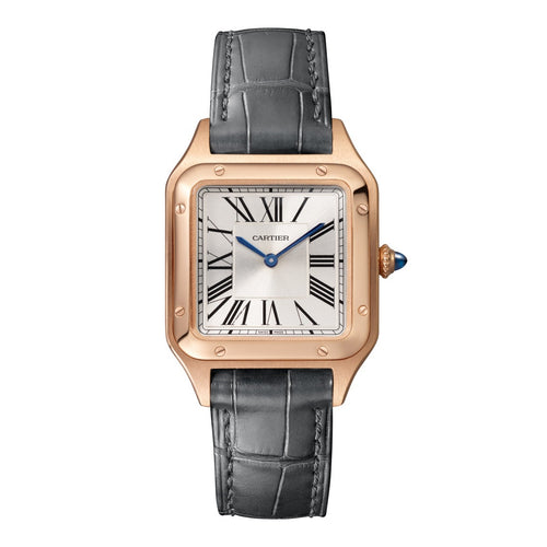 Cartier Santos Dumont Small Pink Gold Grey Leather WGSA0022 Watch