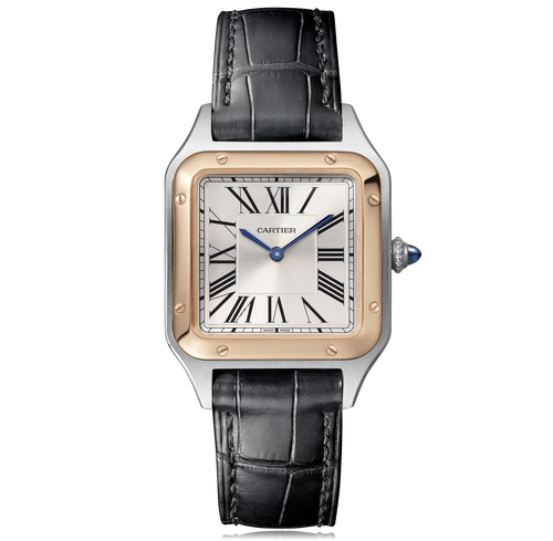 Cartier Santos Dumont Small 18K Pink Gold Steel Leather W2SA0012 Watch