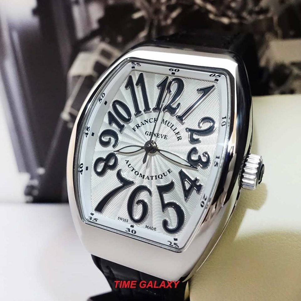 Brand New 100% Genuine FRANCK MULLER Vanguard Stainless Steel Automatic Black Leather Ladies's Watch