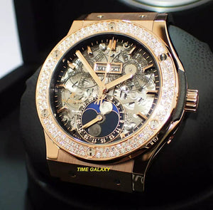 Authentic Hublot Classic Fusion Aerofusion Moonphase King Gold Diamonds 45 mm 517.OX.0180.LR.1104 Watch