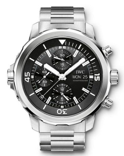 Authentic IWC Aquatimer Chronograph Stainless Steel Black Bracelet IW3768-04 Watch