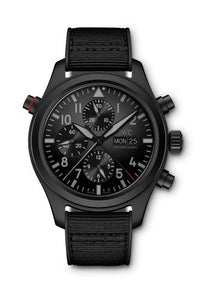 Authentic IWC Pilot's Double Chronograph Top Gun Ceratanium IW3718-15 Watch