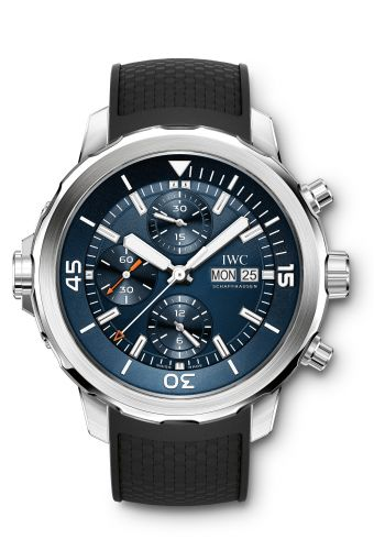 Authentic IWC Aquatimer Chronograph Stainless Steel Blue Rubber Expedition Jacques-Yves Cousteau IW3768-05 Watch