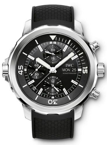 Authentic IWC Aquatimer Chronograph Stainless Steel Black Rubber IW3768-03 Watch