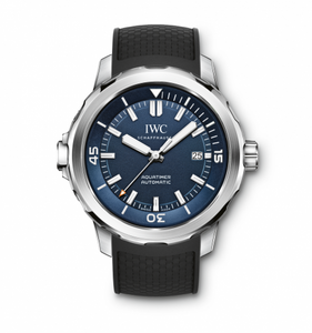 Authentic IWC Aquatimer Automatic Stainless Steel Blue Rubber Expedition Jacques-Yves Cousteau IW3290-05 Watch