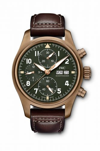Authentic IWC Pilot's Watch Spitfire Chronograph Spitfire Bronze Green IW387902