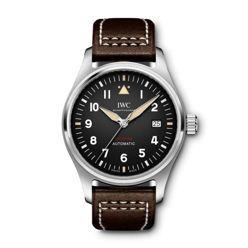 Authentic IWC Pilot's Watch Automatic Spitfire Stainless Steel Black Leather IW326803