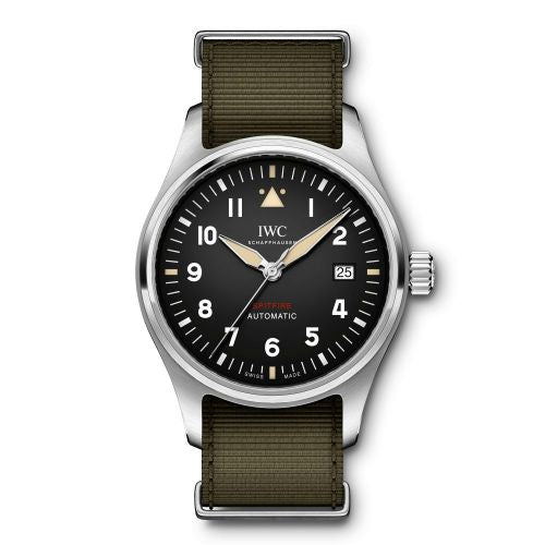 Authentic IWC Pilot's Watch Automatic Spitfire Stainless Steel Black NATO IW326801