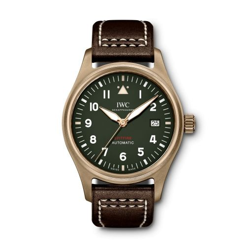 Authentic IWC Pilot's Watch Automatic Spitfire Bronze Green IW326802