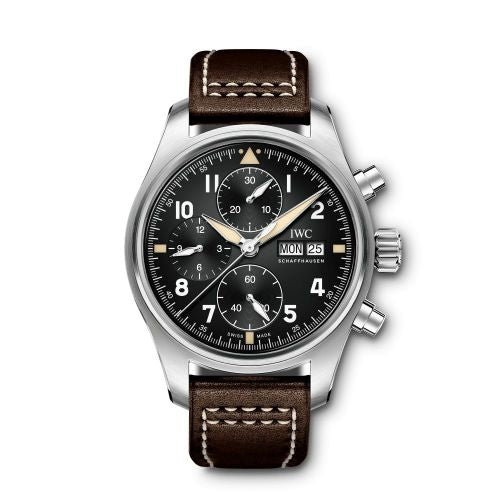 Authentic IWC Pilot's Watch Chronograph Spitfire Stainless Steel Black Calf IW387903