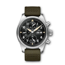 Load image into Gallery viewer, Authentic IWC Pilot's Watch Chronograph Spitfire Stainless Steel Black Textile IW387901